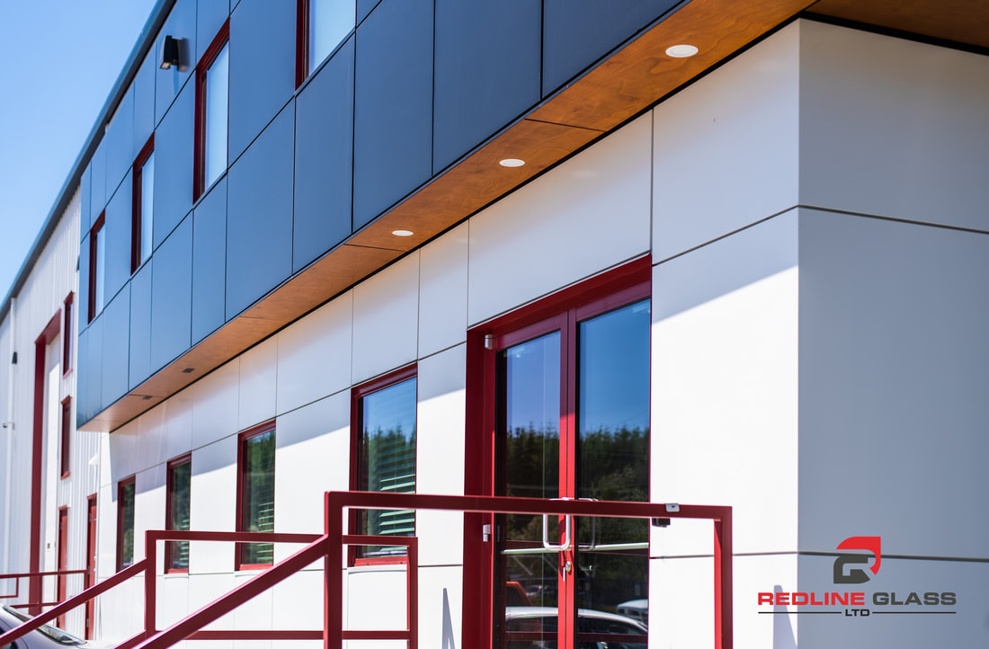 exterior glass product redline glass commercial contractor great white cladding building location
